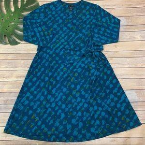 H By Halston teal blue geometric faux wrap dress